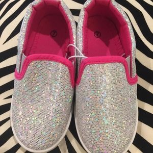 Other - NWOT Silver Sequin Toddler Sneakers